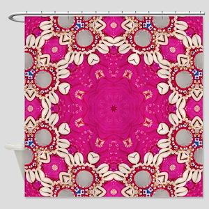abstract fuschia bohemian shells pa Shower Curtain