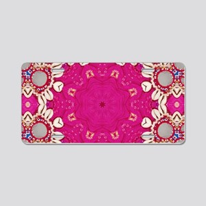 abstract fuschia bohemian s Aluminum License Plate