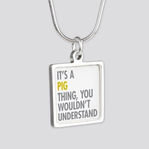 Its A Pig Thing Silver Square Necklace