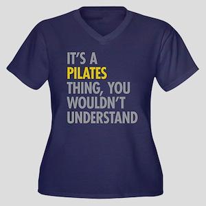 Its A Pilate Women's Plus Size V-Neck Dark T-Shirt