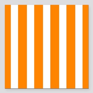 Orange And White Vertical Stripes Square Car Magne