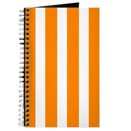 Orange And White Vertical Stripes Journal by BeautifulBed