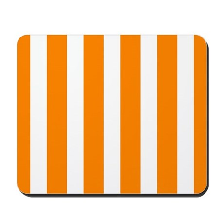 Orange And White Vertical Stripes Mousepad by BeautifulBed