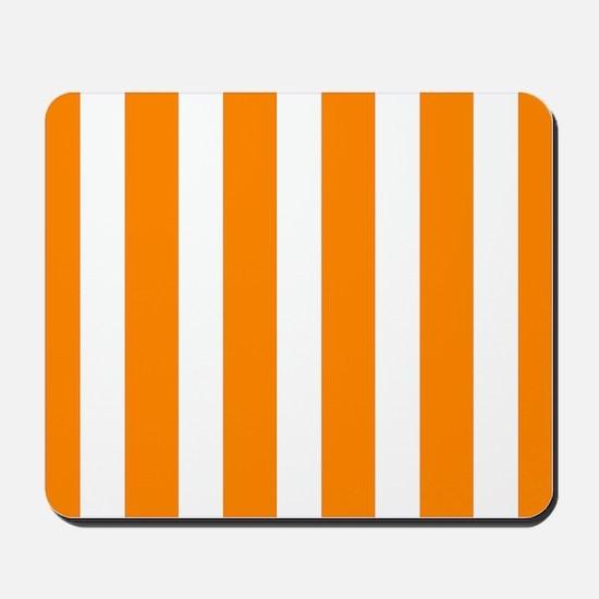 Orange And White Vertical Stripes Mousepad