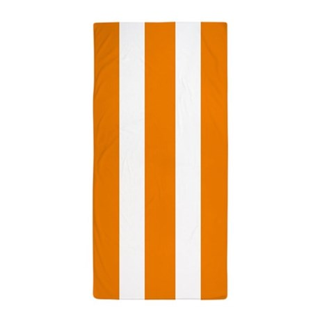 Orange And White Vertical Stripes Beach Towel by BeautifulBed
