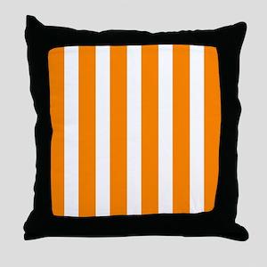 Orange And White Vertical Stripes Throw Pillow