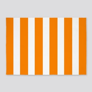 Orange And White Vertical Stripes 5'x7'Area Rug