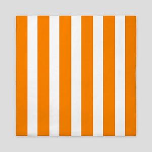 Orange And White Vertical Stripes Queen Duvet