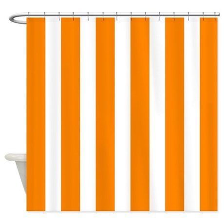ORANGE AND WHITE VERTICAL STRIPES SHOWER CURTAIN