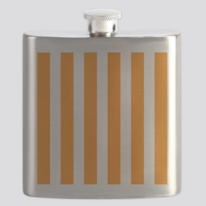Orange And White Vertical Stripes Flask