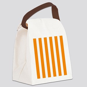 Orange And White Vertical Stripes Canvas Lunch Bag