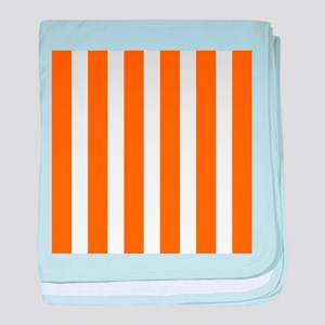 Orange And White Vertical Stripes baby blanket