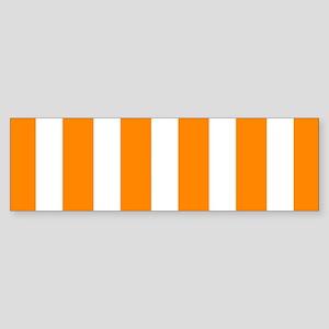 Orange And White Vertical Stripes Bumper Sticker