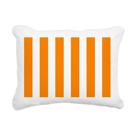 Orange And White Vertical Stripes Rectangular Canv by ...