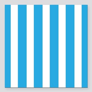 Blue And White Vertical Stripes Square Car Magnet