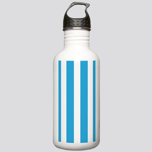 Blue And White Vertical Stripes Water Bottle