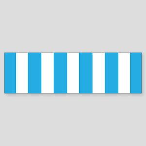 Blue And White Vertical Stripes Bumper Sticker