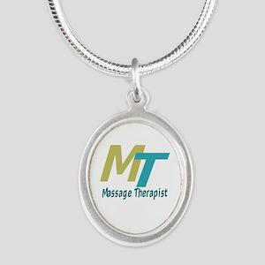 Logo Style Massage Therapist Silver Oval Necklace