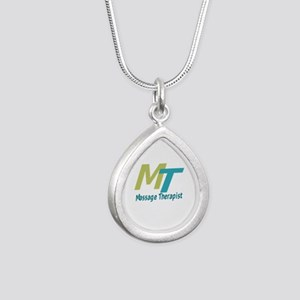 Logo Style Massage Thera Silver Teardrop Necklace
