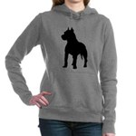 Pit Bull Terrier Silhoue Women's Hooded Sweatshirt