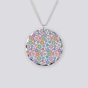 Muted Colorful Snowflake Pattern Necklace
