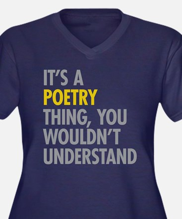 Its A Poetry Women's Plus Size V-Neck Dark T-Shirt
