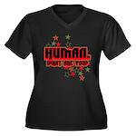 Human. Women's Plus Size V-Neck Dark T-Shirt