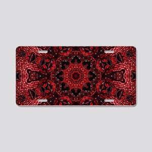 Vintage red floral bohemian Aluminum License Plate