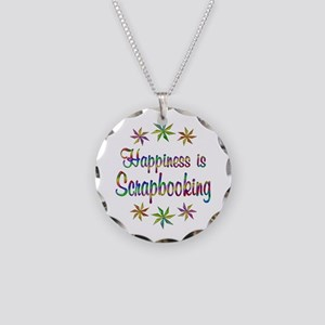 Happiness is Scrapbooking Necklace Circle Charm