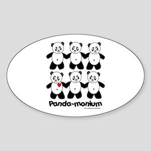 Panda-monium Oval Sticker