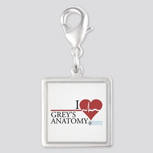 I Heart Grey's Anatomy Silver Square Charm