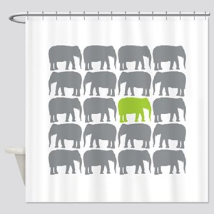 One Green Elephant in the Herd Shower Curtain