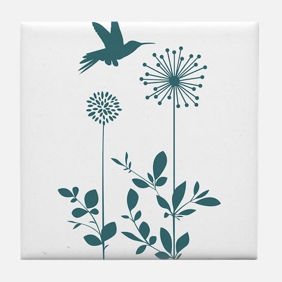 Hummingbird with flowers Tile Coaster