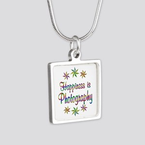 Happiness is Photography Silver Square Necklace
