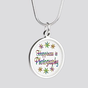 Happiness is Photography Silver Round Necklace
