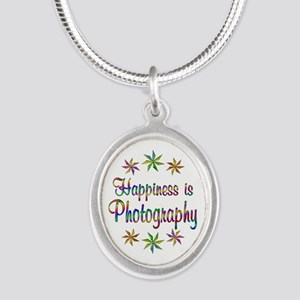 Happiness is Photography Silver Oval Necklace