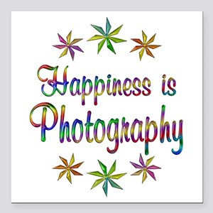 """Happiness is Photography Square Car Magnet 3"""" x 3"""""""