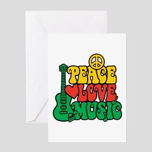 Reggae Peace Love Music Greeting Cards