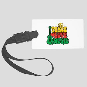 Reggae Peace Love Music Large Luggage Tag