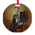 Obama - French Bulldog (BW-RedC) Round Ornament