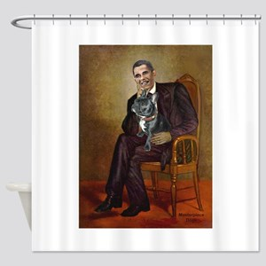 Obama - French Bulldog (BW-RedC) Shower Curtain