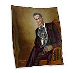 Obama - French Bulldog (BW-Red Burlap Throw Pillow