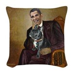 Obama - French Bulldog (BW-Red Woven Throw Pillow