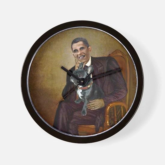 Obama - French Bulldog (BW-RedC) Wall Clock