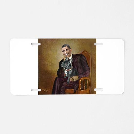 Obama - French Bulldog (BW- Aluminum License Plate