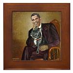 Obama - French Bulldog (BW-RedC) Framed Tile