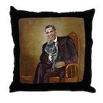 Obama - French Bulldog (BW-RedC) Throw Pillow