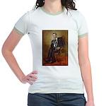 Obama - French Bulldog (BW-RedC Jr. Ringer T-Shirt