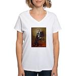 Obama - French Bulldog (BW- Women's V-Neck T-Shirt