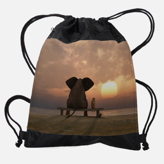 Elephant and Dog Friends Drawstring Bag